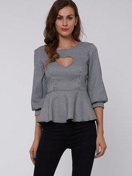 Ericdress Gray Hollow Front Pelplum T-Shirt