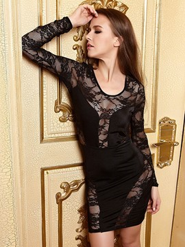 Ericdress Sheer Lace Patchwork Sexy Cluwear