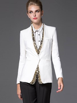Ericdress V-Neck Sequins Patchwork Blazer