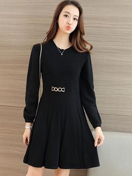 Ericdress Autumn Solid Color Long Sleeve Pleated Sweater Dress