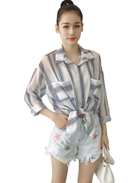 Ericdress Color Block Stripped Blouse