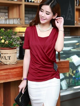 Ericdress Solid Color Beads Asymmetric T-Shirt
