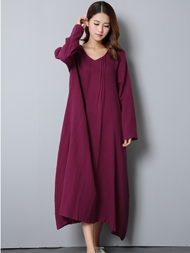 Ericdress Autumn Solid Color Long Sleeve Round Neck Maxi Dress