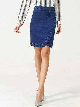 Ericdress Asymmetric Denim Skirt
