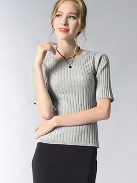 Ericdress Solid Color Slim Short Sleeve T-Shirt