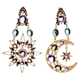 Ericdress Asymmetric Star & Moon Pendant Earrings