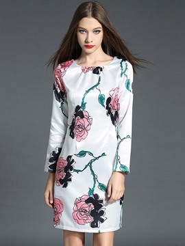 Ericdress Flower Print Long Sleeve Casual Dress