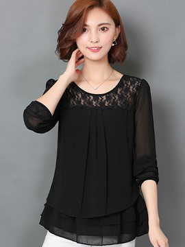 Ericdress Solid Color Loose Lace Patchwork Blouse