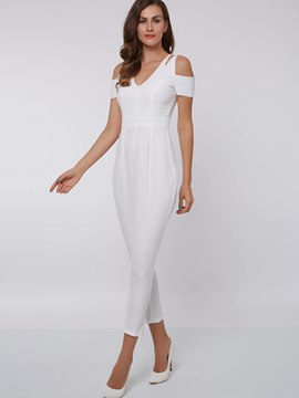 Ericdress Solid Color Cold Shoulder Jumpsuits Pants