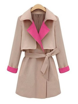 Ericdress Color Block Slim Belt Trench Coat