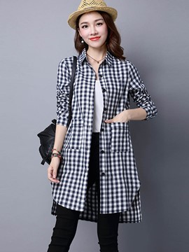 Ericdress Color Block Plaid Blouse