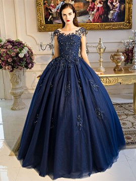 Ericdress Scoop Ball Gown Cap Sleeves Appliques Beading Pearls Quinceanera Dress