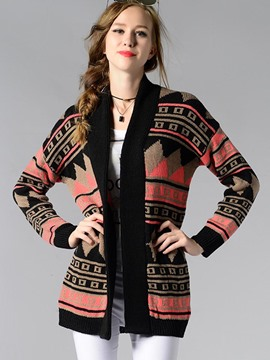 Ericdress Loose Geometric Color Block Cardigan Knitwear