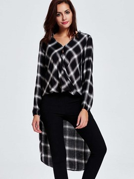 Ericdress Color Block Plaid Loose Blouse