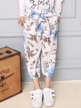 Ericdress Floral Printed Lace-Up Bow Foot Beam Girls Bottoms