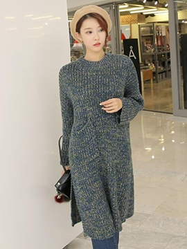 Ericdress Plain Loose Straight Sweater Dress
