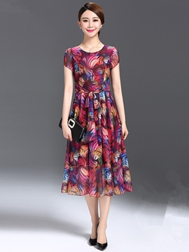 Ericdress Summer Print Short Sleeve Maxi Dress