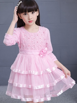 Ericdress Layered Dress Bead Mesh Belt Girls Dresses