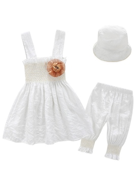 Ericdress Baby hats Elastic Pleated Heal Plain Three-Piece Girls Outfits