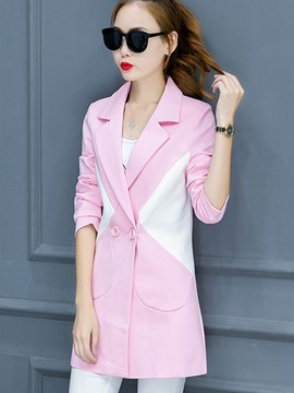 Ericdress Loose Color Block Polo Blazer