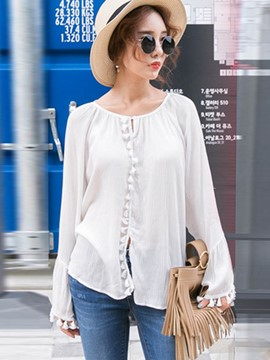 Ericdress Loose Solid Color Tassel Blouse