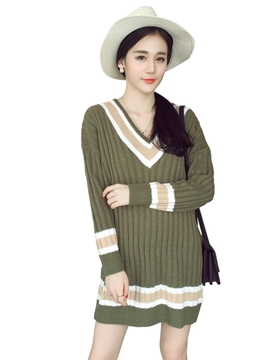 Ericdress Autumn Color Block Long Sleeve Sweater Dress