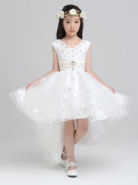 Ericdress Beautiful V Neck Flowers High Low Flower Girl Dress