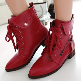 Ericdress Cool Point Toe Lace up Ankle Boots
