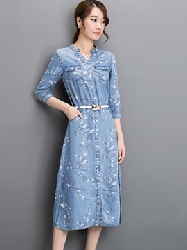 Ericdress Floral Print Denim Casual Dress