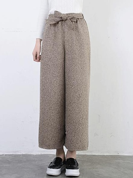 Ericdress Solid Color Bowknot Pants