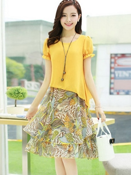 Ericdress Summer Chiffon Print Patchwork Short Sleeve Casual Dress