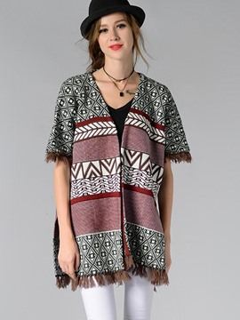 Ericdress Color Block Geometric Tassel Knitwear