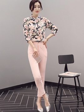 Ericdress Sweet Stand Collar Flower Print Blouse Suit