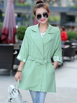 Ericdress Casual Printed Loose Trench Coat