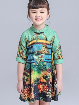 Ericdress Peacock Jacquard Handicap Stand Collar Girls Dresses