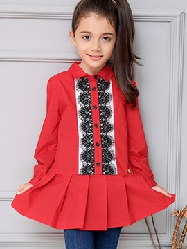 Ericdress Lace Patchwork Pleated Girls Tops