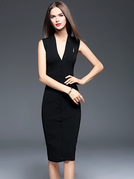 Ericdress Plain Sleeveless Sheath Dress
