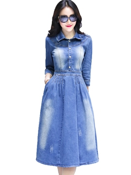 Ericdress Single-Breasted Lapel Denim Casual Dress