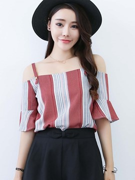 Ericdress Stripped Color Block Off-Shoulder Blouse