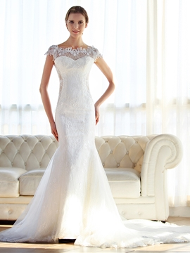 Ericdress Charming Bateau Lace Mermaid Wedding Dress