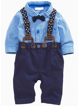 Ericdress Gentleman Bowknot Appliques Polka Dots Suspenders Two-Piece Boys Outfits
