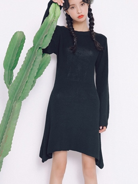 Ericdress Plain Asymmetric Round Neck Sweater Dress