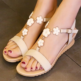 Ericdress Flowers Embellished Open Toe Flat Sandals