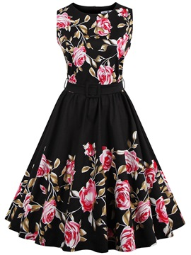 Ericdress Vintage Sleeveless Print Casual Dress