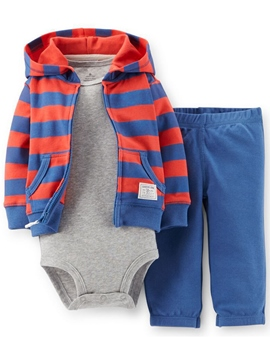 Ericdress Simple Letter Printed Ha underwear &Hooded Pure Sweatshirts Three-Piece Boys Outfits