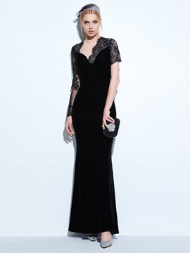 Ericdress Long Sleeves Jewel Sheath Lace Floor-Length Evening Dress