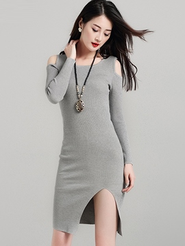 Ericdress Plain Cold Shoulder Knitted Bodycon Dress