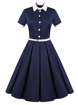 Ericdress Single-Breasted Lapel Belt Expansion Casual Dress