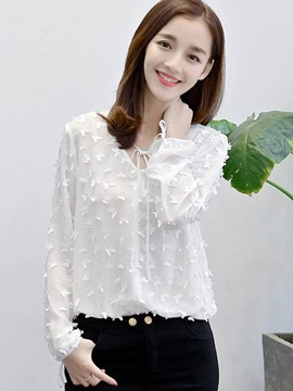 Ericdress Loose Solid Color Butterfly Blouse
