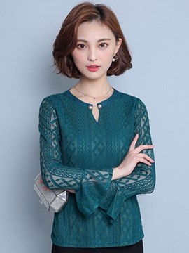 Ericdress Solid Color Slim Trumpet Blouse